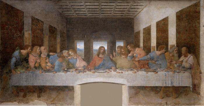 «Тайная вечеря» да Винчи. На одной из свадеб он спланировал, что обедающие так же будут сидеть по одной стороне длинного стола. | Фото: commons.wikimedia.org.