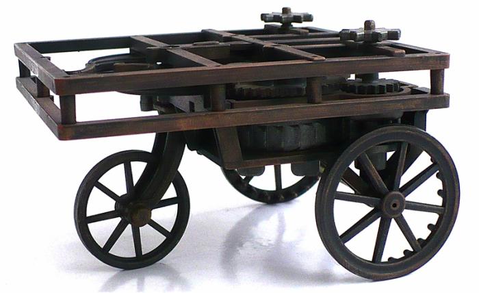 Модель автомобиля Леонардо да Винчи. | Фото: theminiaturespage.com.