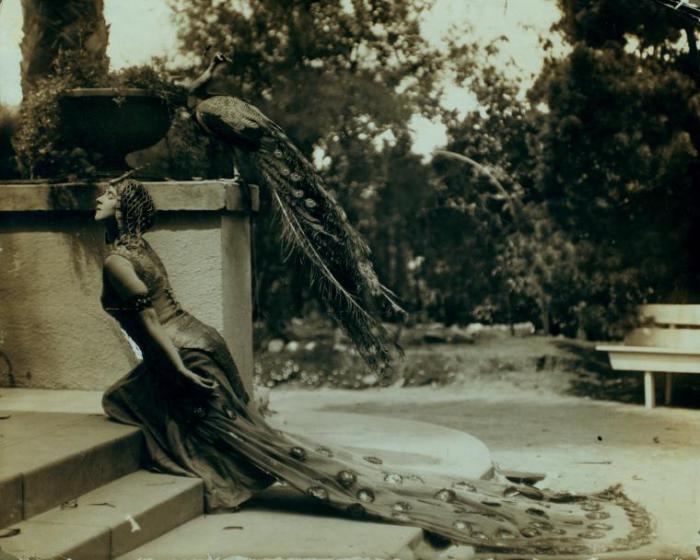 Рут Сен-Дени в костюме павлина, 1915 год.