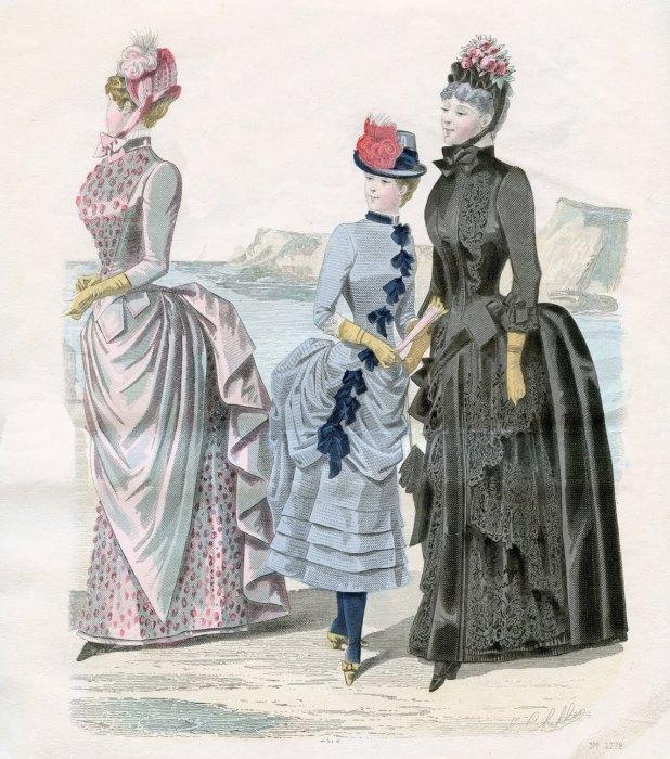 Модные женские костюмы конца XIX в. | Фото: thegraphicsfairy.com.