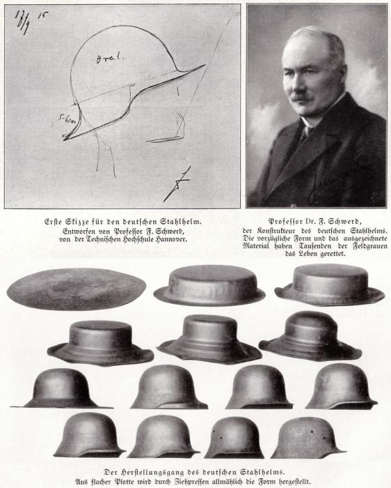 Разработчик Stahlhelm M16 доктор Фридрих Шверд и процесс штамповки каски.   Фото: uk.wikipedia.org.