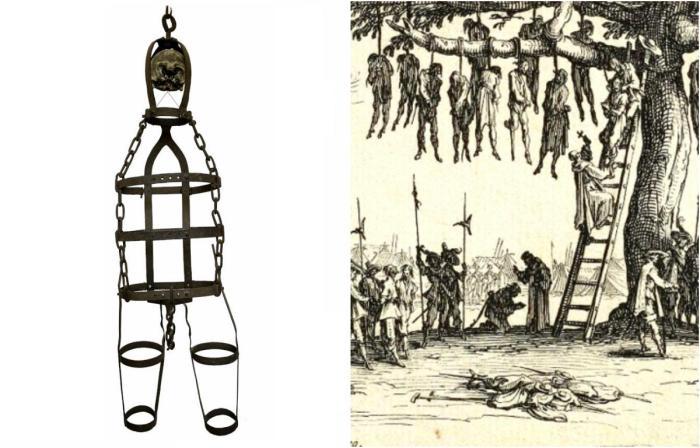 Подвешивание в клетке - изощренная английская казнь.