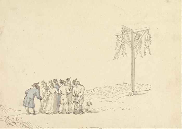 Виселица. Рисунок Томаса Роулендсона, конец XVIII века. | Фото: commons.wikimedia.org.