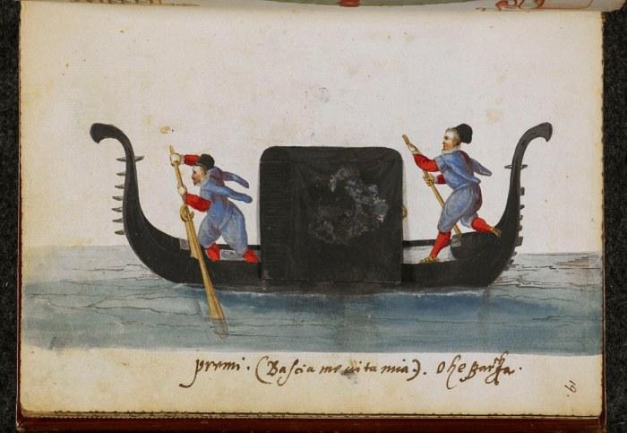 Что скрывается за черной ширмой венецианской гондолы? | Фото: digitalcollections.nypl.org.