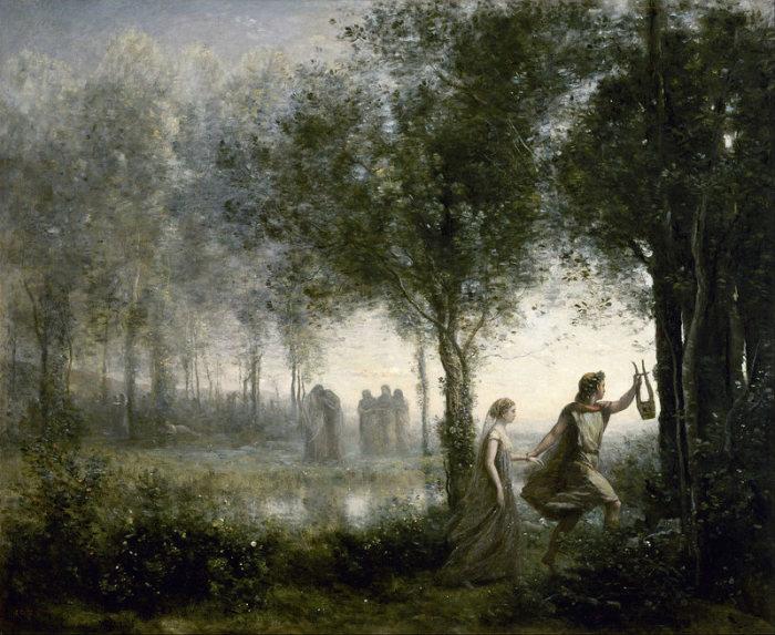 Орфей выводит Эвридику из Подземного мира. Жан Батист Камиль Коро, 1861 год. | Фото: commons.wikimedia.org.