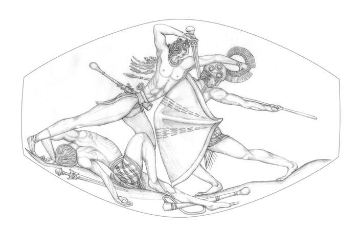 Минойский воин пронзает своего противника. | Фото: pikabu.ru.