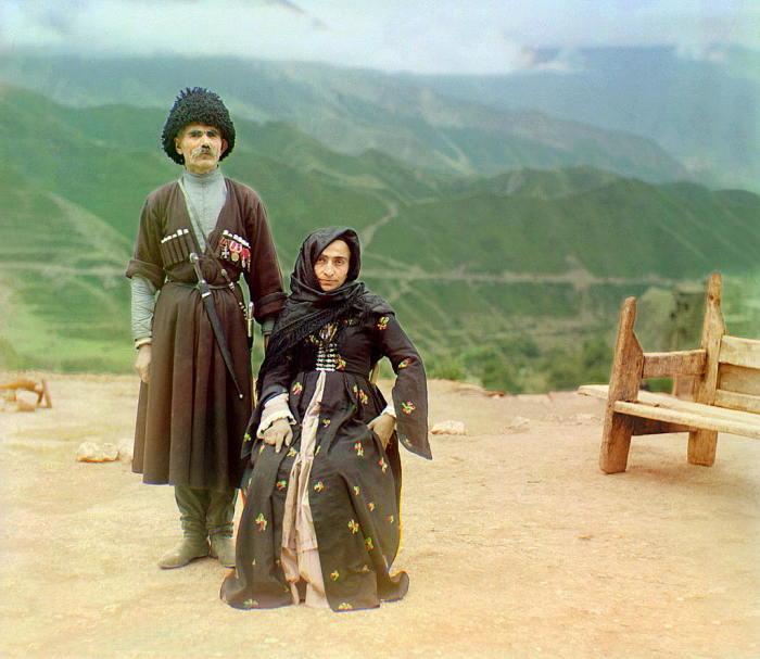 Старик-дагестанец со своей женой. Прокудин-Горский С.М., 1905-1915 гг. | Фото: kavkaz-costume.blogspot.ru.