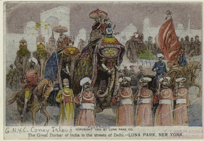 Нью-Йоркский луна-парк, изображающий торжественное шествие Делийского дарбара.