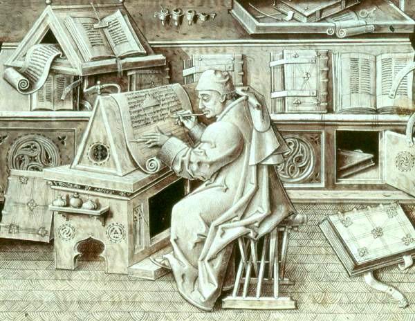 Монах в мастерской по переписыванию рукописей, XV век. | Фото: en.wikipedia.org.
