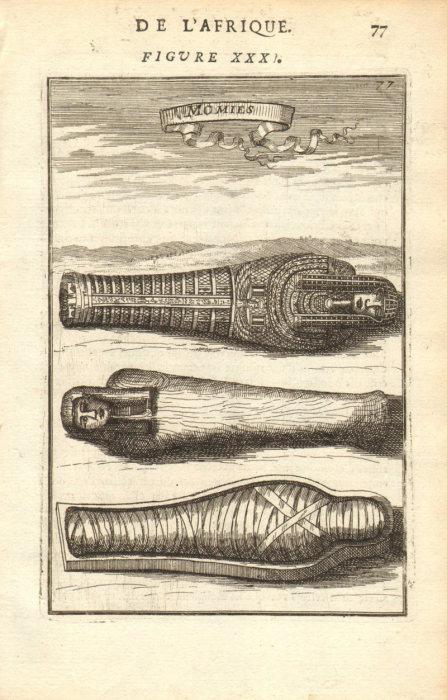 Древнеегипетская мумия в саркофаге. Рисунок XVII века. | Фото: atlasobscura.com.