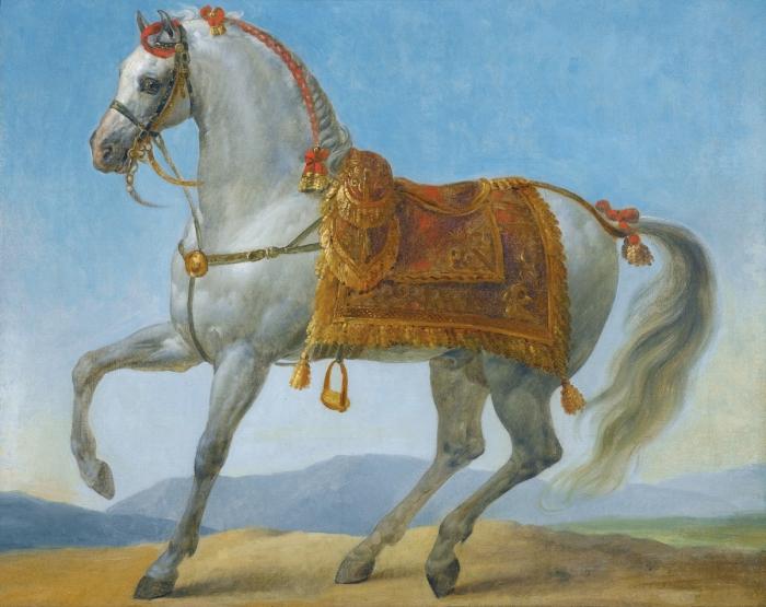 Маренго – самый знаменитый конь Наполеона Бонапарта. Ануан-Жан Гро.   Фото: fr.wikipedia.org.