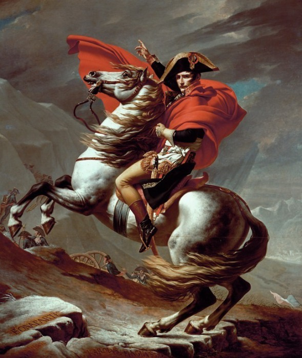 Бонапарт на перевале Сен-Бернар. Жак-Луи Давид, 1801 год. | Фото: commons.wikimedia.org.