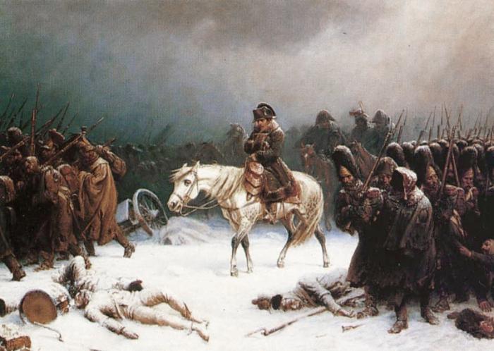 Отступление Наполеона из Москвы. Адольф Нортен, 1851 г.   Фото: ru.wikipedia.org.