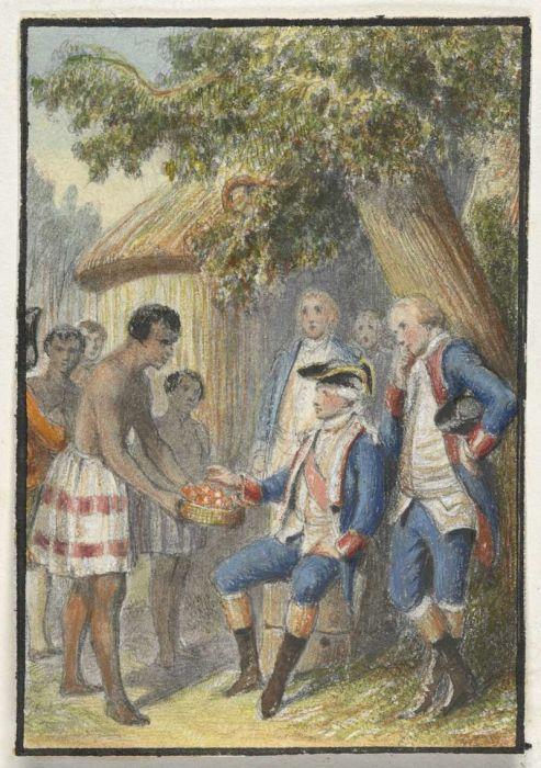 Аборигены с острова Таити вручают фрукты офицерам Бугенвиля. | Фото: ru.wikipedia.org.