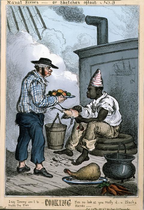 Кок с британского корабля готовит обед, 1831 год. | Фото: collections.rmg.co.uk.