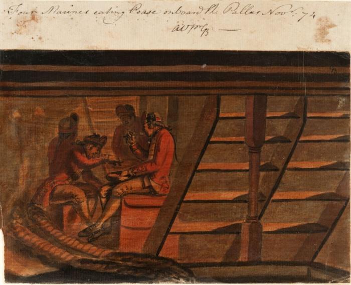 Четыре британских морских пехотинца едят горох в трюме британского фрегата Pallas. Gabriel Bray, 1774 год. | Фото: uncoveringhiddenlives.com.