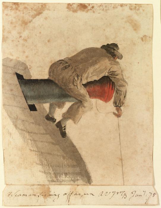 Матрос с британского фрегата Pallas рыбачит, лежа на пушке. Gabriel Bray, 1775 год. | Фото: collections.rmg.co.uk.