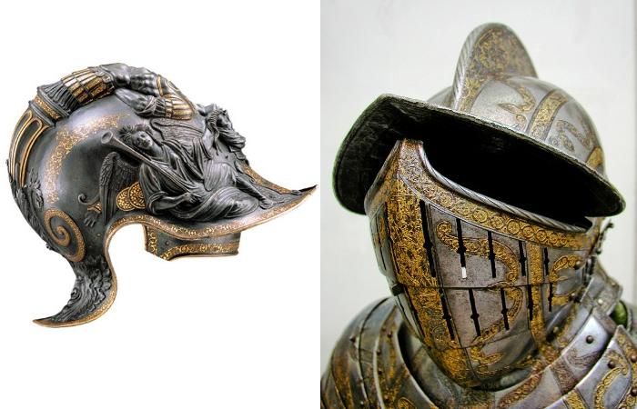 Величественные шлемы монархов эпохи Возрождения. | Фото: flickriver.com.
