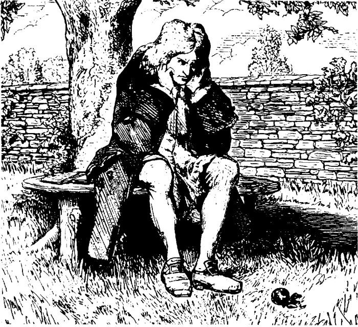 Исаак Ньютон размышляет о тяготении. | Фото: slavyanskaya-kultura.ru.
