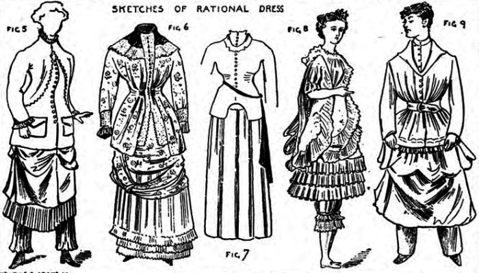 Модели женского платья из брошюры Общества Рационального Костюма, 1883 год. | Фото: atlasobscura.com.