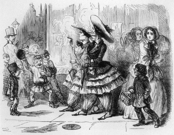 Карикатура в журнале «Панч», высмеивающая курящих женщин в шароварах, 1851 год. | Фото: upload.wikimedia.org.