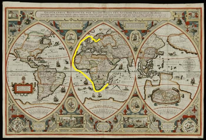 Карта мира XVII века с предполагаемым маршрутом экспедиции к Мадагаскару. | Фото: philologist.livejournal.com.