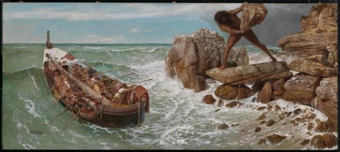 Одиссей бежит с острова Полифема. | Фото: fugatecvsp201.weebly.com.