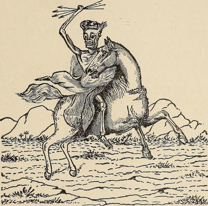 Смерть на бледном коне – предвестник Апокалипсиса. Иллюстрация из книги 1919 года. | Фото: flickr.com.