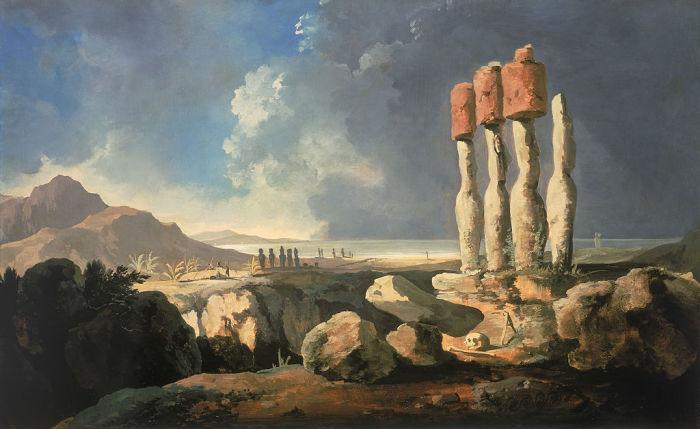 Вид на монументы острова Пасхи (Рапа-нуи). Уильям Ходжес, 1775 год. | Фото: en.wikipedia.org.