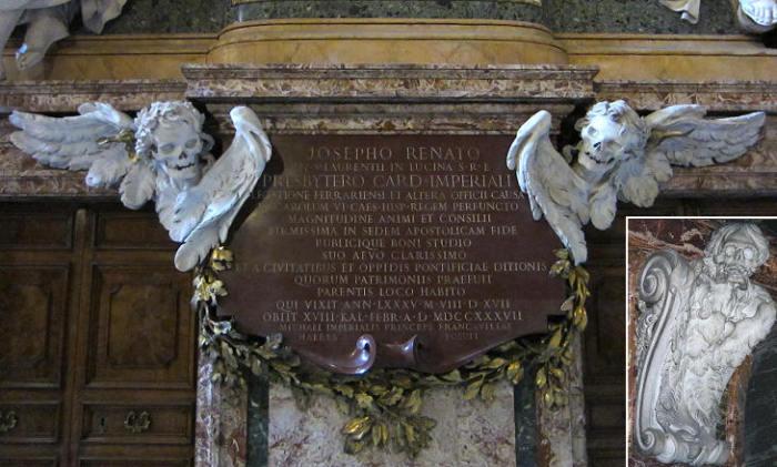 Скульптурный мемориал кардинала Джузеппе Ранато Империали в римской церкви Сант-Агостино. Паоло Поси (проект) и Пьетро Браччи (скульптура), 1741 год. | Фото: romeartlover.it.