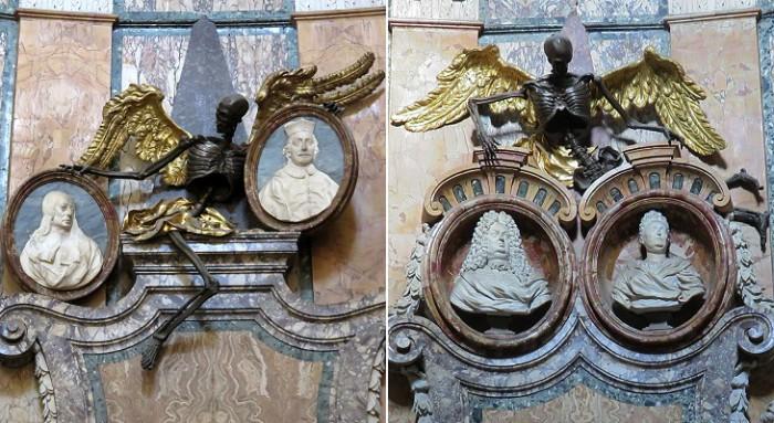 Украшение могил в церкви Сан-Франческо-а-Рипа. Скульптор Джузеппе Маццуоли. | Фото: laudanum-bottles.tumblr.com.