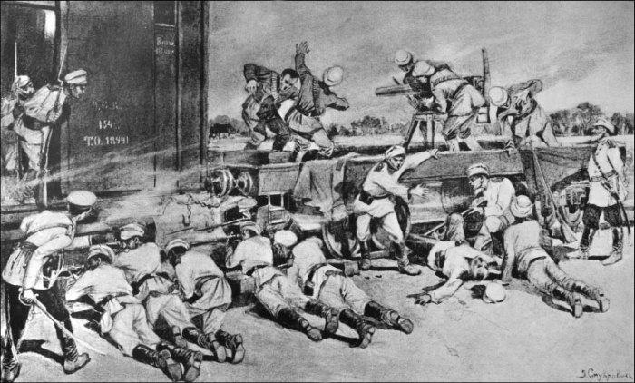 Русские и британцы в перестрелке с китайскими войсками 4 июня 1900 года. | Фото: lib.rus.ec.
