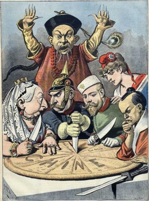 Карикатура 1890-х годов на лидеров европейских держав, которые делят китайский «пирог». | Фото: tes.com.
