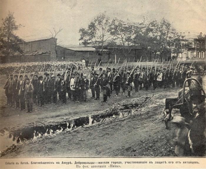 Добровольцы из Благовещенска на Амуре, участвовавшие в обороне города от китайцев. | Фото: masterok.livejournal.com.