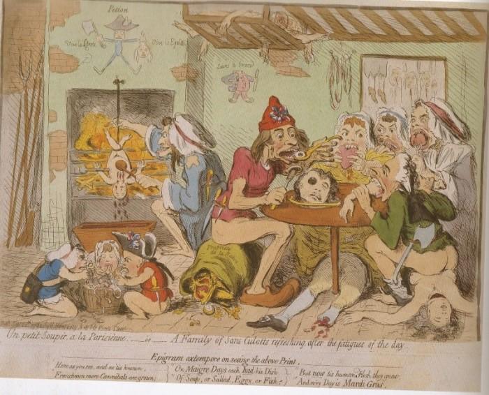 Британская карикатура на санкюлотов (горожан), изображенных каннибалами. | Фото: maria-antonia.justgoo.com.