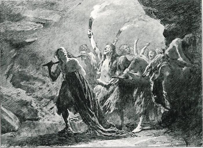 Шествие в пещере людоедов. Seymour Lucas, 1896 год. | Фото: southayrshirehistory.wordpress.com.