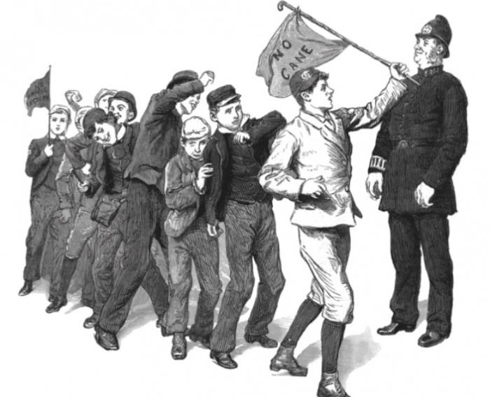 Британские школьники требуют отменить телесные наказания, 1889 год. | Фото: cdn.historyextra.com.