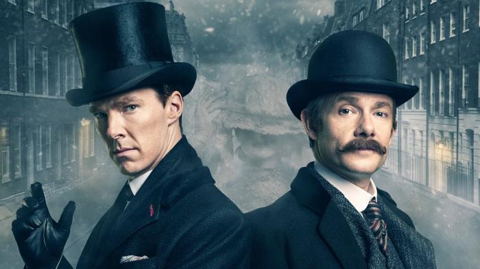 Шерлок Холмс и доктор Ватсон из современного телесериала. | Фото: sky-wall.ru.