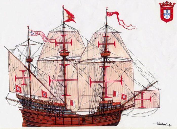 Португальский галеон начала XVI века. | Фото: pinterest.com.