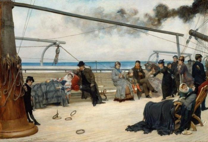 На палубе пассажирского судна. Генри Бэкон, 1877 год. | Фото: m.blog.daum.net.