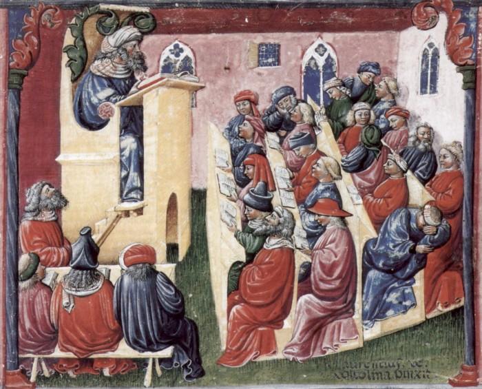 Студенты, обучающиеся в Болонье, 2-я пол. XIV в. | Фото: commons.wikimedia.org.