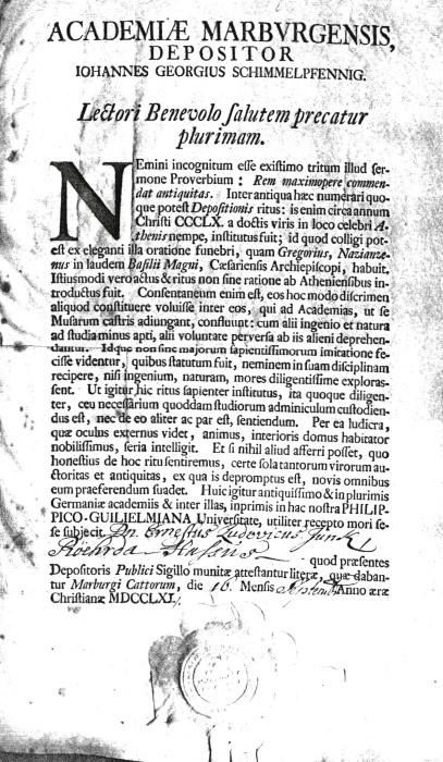 Документ, удостоверяющий, что Ernst Ludwig Junck прошел обряд посвящения в студенты в Марбургском университете 16 сентября 1791 года. | Фото: staff.uni-marburg.de.