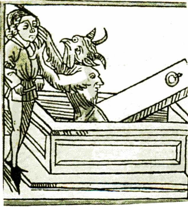 Вампир нападает на христианина. Немецкая гравюра XV века. | Фото: commons.wikimedia.org.