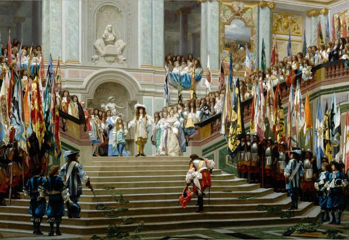 Людовик XIV принимает принца де Конде в Версале. Жан-Леон Жером, 1878 год. | Фото: fiveminutehistory.com.