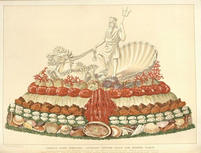 Художественный шедевр для вечерней трапезы. В основе пирога - оладьи из фарша лосося, украшенные омарами и раками. Нептун, дельфины и лошади сделаны из тонированного жира. | Фото: catalog.nyam.org.
