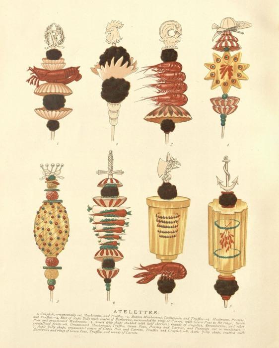 Канапе с нанизанной пищей, в том числе речными раками, грибами и заливным желе. | Фото: nyamcenterforhistory.org.