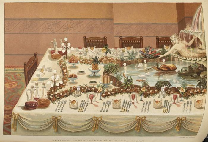 Художественная сервировка обеденного стола, с гирляндами цветов и фонтаном. | Фото: nyamcenterforhistory.org.