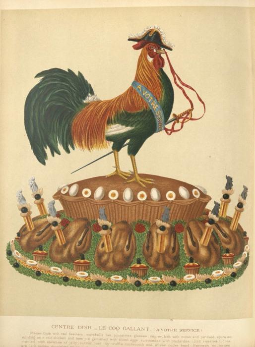Центральное блюдо для большого стола, под названием «Le Coq Gallant». Петух украшен настоящими перьями, на нем шляпа-треуголка, пенсне, рапира, пояс с девизом и шпоры. Он стоит на пироге из ветчины и холодной курицы в окружении желе и трюфелей. | Фото: nyamcenterforhistory.org.