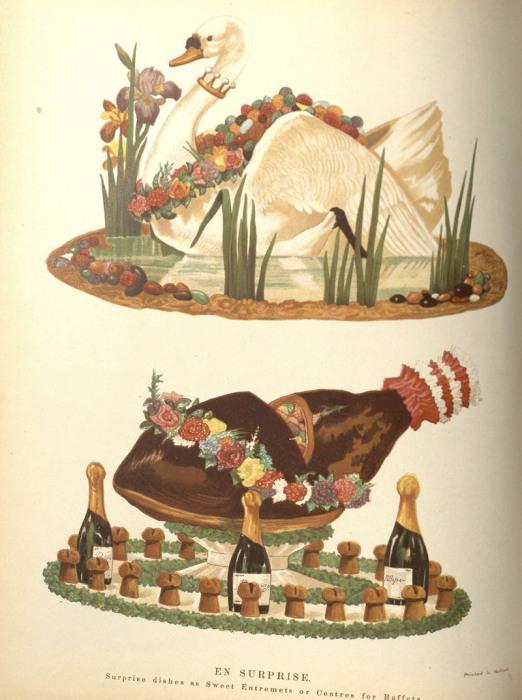 «En Surprise», описанное как «сладкое блюдо-сюрприз» - это дополнительное кушанье, которое подается между основными подачами. | Фото: nyamcenterforhistory.org.