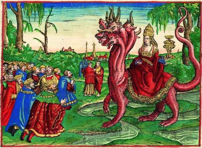 Легендарная папесса Иоанна в образе Вавилонской блудницы верхом на звере Апокалипсиса. | Фото: cont.ws.